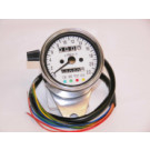 Chrom Speedometer m/beslag Hvid skive Speedo crom 60mm m/beslag -ratio 2.1