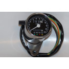 Chrom Speedometer m/beslag 60mm -Sort skive Speedo m/4 kontrol lamper -ratio 2.1